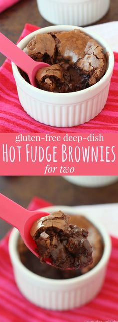 Gluten Free Deep Dish Hot Fudge Brownies for Two - an easy chocolate dessert recipe for you and your sweetie!