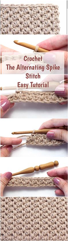 Crochet the alternating spike stitch. Easy tutorial with a free video for beginners!