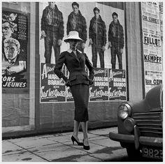 Fashion model in Jacques Fath, Paris 1955.