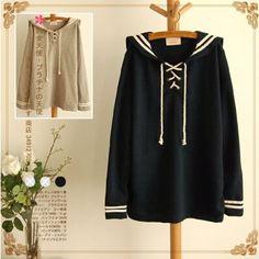 Japanese navy cute loose long-sleeved fleece