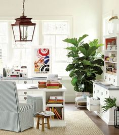 Our Original Home Office furniture pieces get a summer-y update with classic stripes and a beachy art print.