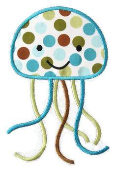 Jellyfish 2 Machine Embroidery Applique Design. $4.00, via Etsy.