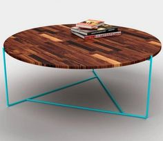 Pitch Pine Round Coffee Table with Turquoise Legs by Coco Male