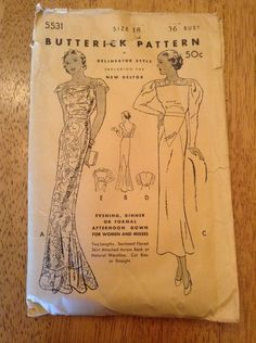 Butterick 5531 | 1930s Evening, Dinner or Formal Afternoon Gown for Women and Misses Clothes Patterns, Fabric Patterns, 1930s Fashion, Vintage Fashion, Vintage Style, Retro Vintage, Business Outfits, Needle And Thread, Vintage Sewing Patterns