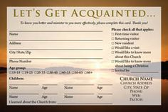 Awesome Visitor Card Images Church Pinterest Churches Card - Church visitor card template