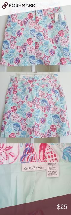 Croft & Barrow skort New Croft & Barrow beach/seashells/nautical skirt with shorts underneath. Has pockets & belt loops.  New with tags. Size 6 mid rise. Colors: seafoam green, pinks, white, & blues. Comes from a smoke free/pet free home. If possible I will ship same day, otherwise I will ship next business day. *Thank you for sharing my listing, & checking out my closet!!* croft & barrow Shorts Skorts