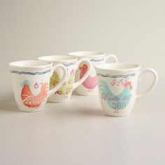 One of my favorite discoveries at WorldMarket.com: Rooster Mugs, Set of 4