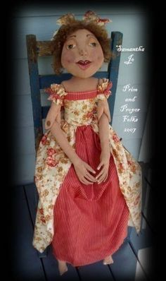 Primitive Doll ePattern Samantha Jo by primandproperfolks on Etsy - Designed by Susan Walker