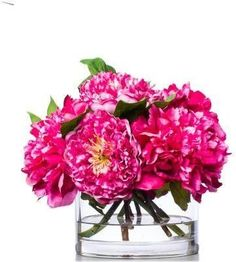 A premier online destination of luxury fabrics, wallpapers and furnishings from designers and to-the trade brands. Faux Flower Arrangements, Pink Peonies, Faux Flowers, Hot Pink, Glass Vase, Wallpaper, Fabric, Design, Fake Flowers