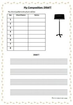 Students are to compose and correctly notate an 8 bar melody line with chord symbols and performance markings for their chosen instrument.   $