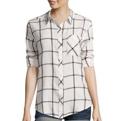 Arizona Long-Sleeve Plaid Button-Front Shirt - JCPenney