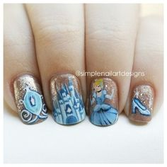 Perfect for your next Disney trip! Cinderella Nails Contact me for your… Get Nails, Love Nails, How To Do Nails, Pretty Nails, Hair And Nails, Cinderella Nails, Disney Princess Nails, Cinderella Disney, Disney Nail Designs
