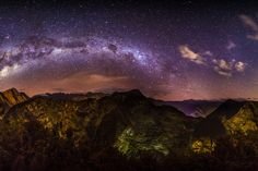 Thomas O'Brien sent in this image of the Milky Way over Machu Picchu on July 4, 2013. He captured the photo from Putucusi Mountain, which is located across the Urubamba River Valley from the historic sanctuary of Machu Picchu, Peru. Machu Picchu is the dark, saddle-shaped area between mountains on right side of the image where the arc of the Milky Way intersects with the horizon. (http://www.tmophoto.com/)