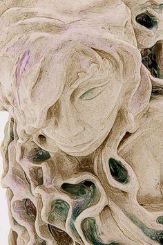 Title: water Nymph clay, crystal glaze 2001 By Angela Broadbent  www.angelabroadbent.com