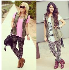 Printed leggings and army green vest- now I have an idea for the leggings ann just bought for me!!!!