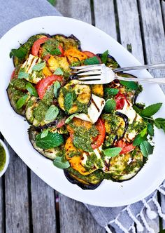Grilled Halloumi Salad with Mint Dressing