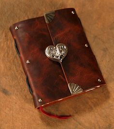 Leather Journal  Heart Clasp  Brown   Notebook  by Twisted2011, $70.00
