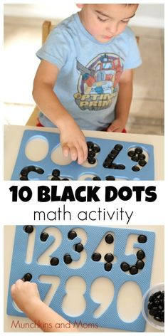 10 Black Dots - A great preschool math activity based on Donald Crews' classic book! Numbers Preschool, Preschool Math, Kindergarten Math, Learning Numbers, Math For Kids, Fun Math, Math Help, Math Games, Touch Math