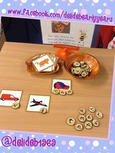 Make cvc words and initial sounds with the wooden discs