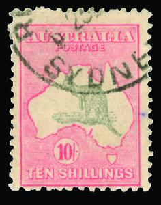 "Australia 101 (112) 1929 10' grey and pink Kangaroo, Die II, wmkd Small Crown and A Multiple, perf 12, light ""Sydney"" cds"