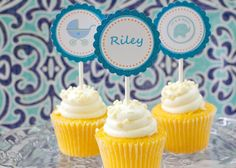 Baby Shower Cupcake Toppers, Baby Boy, Personalized, Its a Boy, Elephant, Stroller,  Monogram,  Boys Birthday, Blue Glitter - http://babyshower-cupcake.com/baby-shower-cupcake-toppers-baby-boy-personalized-its-a-boy-elephant-stroller-monogram-boys-birthday-blue-glitter/