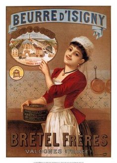 affiche vintage beurre d'isigny (normandie)