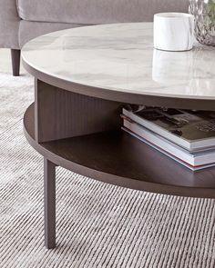Granite Coffee Table, Oak Coffee Table, Round Coffee Tables, Marble Coffee Tables, Living Spaces, Living Room, Room Goals, White Oak, Wood Veneer