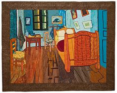 incredible! Van Gogh's bedroom quilted in slices by a group of quilters/artists