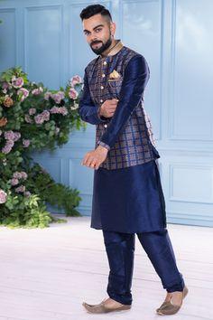 dresses indian boys Traditional Blue Kurta with Jacket Set Engagement Dress For Groom, Couple Wedding Dress, Groom Wedding Dress, Wedding Suits, Mens Indian Wear, Indian Men Fashion, Mens Ethnic Wear, Mens Fashion Suits, Indian Wedding Clothes For Men