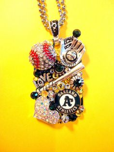 Oakland A's Dog Tag Pendant Number 1107 by BradosBling on Etsy, $39.99