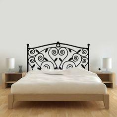 vinilo decorativo respaldo cama hierro enredadera Wrought Iron Beds, Wrought Iron Decor, Steel Bed, Iron Furniture, Metal Beds, Wall Shelves, Modern Rustic, Interior Design, Bedroom