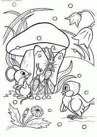 Воробушек - скачать и распечатать раскраску. Раскраска Припрыгал мокрый воробей и попросил пустить под грибок. Мышка, муравей и бабочка потеснились и ему нашлось место