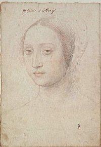 Jean Clouet: Portrait de Marie de Langeac, dame de Lestrange, 1533, pierre et sanguine 28,9 +20 cm, Chantilly et sanguine, Musée Condé. - Il s'agit de l'une des plus grandes collections de crayons de la Renaissance. Catherine de Médicis se passionna pour les portraits -et réunit 551 dessins, en commençant par récupérer ceux que François 1° avait gardés, notamment de Jean Clouet, puis en en commandant elle-même à François Clouet, Le Manner, Bouteloup...