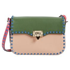Valentino 'Rockstud' Colorblock Shoulder Bag (5,275 BAM) ❤ liked on Polyvore featuring bags, handbags, shoulder bags, valentino purses, structured handbag, green purse, colorblock purse and star purse