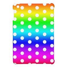 Rainbow & White Polka Dots iPad Mini Cover #zazzle