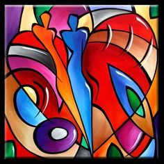 Art 'Heart Strings' - by Thomas C. Fedro from Abstract Indian Art Paintings, Fantasy Paintings, Cool Art Drawings, Colorful Drawings, Africa Drawing, Cubism Art, Africa Art, Arte Pop, Whimsical Art