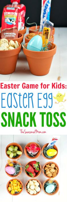 An Easter Egg Snack Toss is an easy Easter Game for Kids -- and it will keep the youngsters active and energized throughout the holiday! This Easter activity is a simple and fun way to entertain the little ones all season long! Easter Eggs Kids, Easter Activities For Kids, Easter Snacks, Easter Brunch, Easter Recipes, Easter Ideas, Easter Cookies, Easter Crafts, Diy For Kids