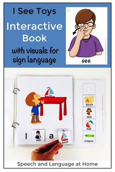 As an early intervention speech therapist I needed activities to teach parents and toddlers simple sign language. So I created these products. Now I use these interactive books with my preschool and elementary students too. Such a fun way to teach early sign language, first words and early literacy skills. The printables also come in black and white for parents. I See Toys Interactive Book. #babysign #signlanguage