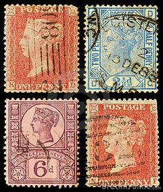 Postage Stamps Britain Queen Victoria Stock Image - Image of office, english: 21561333 Uk Stamps, Rare Stamps, Vintage Stamps, Vintage Ephemera, Postage Stamp Collection, Postage Stamp Art, Rare Coins, Penny Black, Mail Art