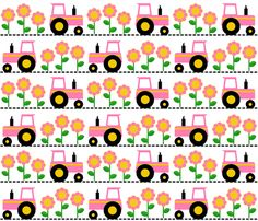 Girly Pink Farm Tractor fabric by tictactogs on Spoonflower - custom fabric