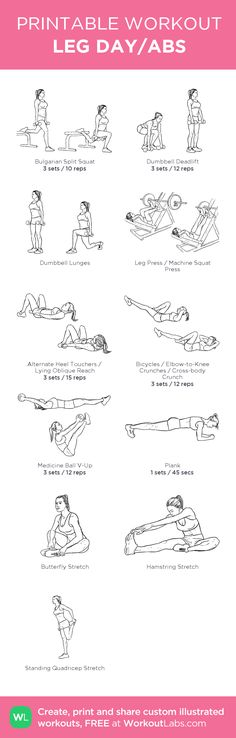 LEG DAY/ABS: my visual workout created at WorkoutLabs.com • Click through to customize and download as a FREE PDF! #customworkout
