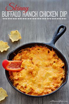 Big on taste, but low in calories, this skinny buffalo chicken dip is sure to be a game day pleaser this fall!