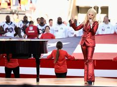 Lady of the match: Lady Gaga captured on the centerfield at the Super Bowl weari - Gucci Suit - Ideas of Gucci Suit - Lady of the match: Lady Gaga captured on the centerfield at the Super Bowl wearing a custom red lurex Gucci suit by Alessandro Michele. Lady Gaga, Beyonce, Super Bowl, Chris Martin, Fashion Sites, Fashion Articles, Bruno Mars, Jennifer Lopez, Versace