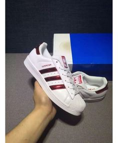 Adidas Superstar Metallic Iridescent White Red Traniers On Sale Superstars Shoes, Adidas Superstar, Shoe Sale, Adidas Women, Adidas Sneakers, Metallic, Red, Shopping