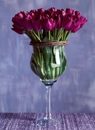 Tulips in wine glass. Cute center piece when having friends over for dinner.