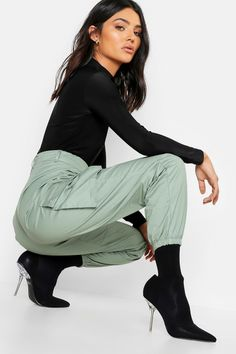 Woven Pocket Cargo Pants | boohoo Striped Wide Leg Trousers, Peg Trousers, Wet Look Leggings, Pantalon Cargo, Printed Palazzo Pants, Cargo Pants, Man Pants, Blazer, Skinny