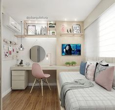 Tiny Bedroom Design, Small Room Design, Girl Bedroom Designs, Home Room Design, Cute Bedroom Ideas, Room Ideas Bedroom, Small Room Bedroom, Home Decor Bedroom, Kids Bedroom