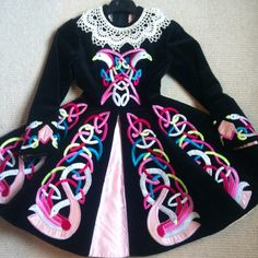 Love the old style, embroidered Irish dancing dress