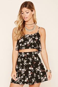 Forever 21 Floral Print Flounce Crop Top $15 - A woven crop top featuring an allover floral print, adjustable cami straps, rounded neckline, exposed back zipper, and a flounce layer. Matching shorts available. ~~  Skirt $15 - A woven skirt featuring an allover floral print with a drawstring elasticized waist.