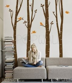 Tree Wall Decal Wall Sticker Art - Birch Tree Decal -  EXTRA 10 FREE Flying Birds - 075. $80.00, via Etsy.